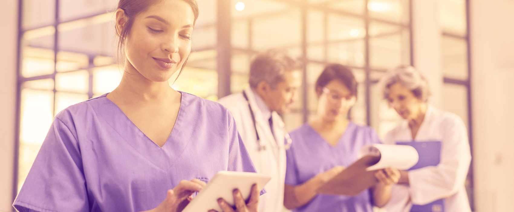 Medical professionals on mobile device