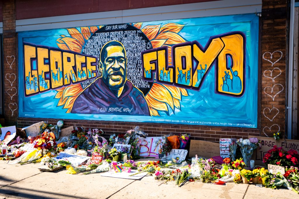 Mural honoring George Floyd by Black Lives Matter protesters